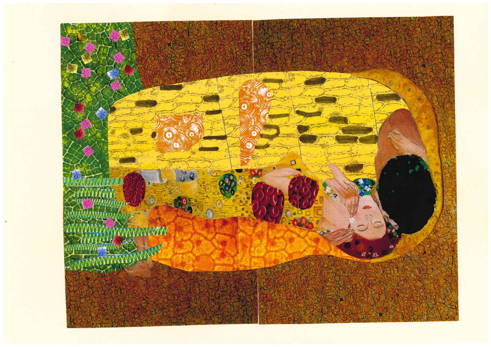 Adaptación de la obra El beso, de Gustav Klimt a la nanociencia