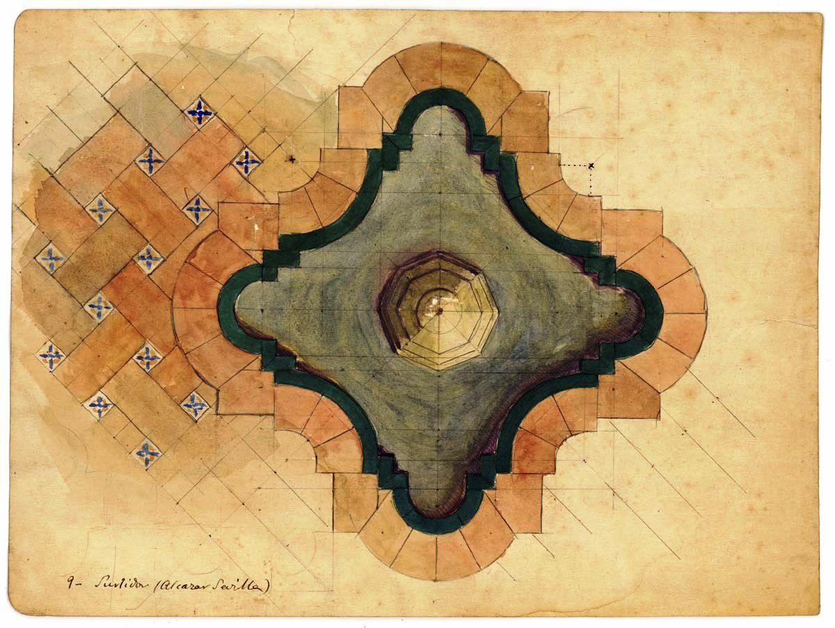 Dibujo de surtidor y parte del pavimento. AJB, Div. IX, D, 67, 134