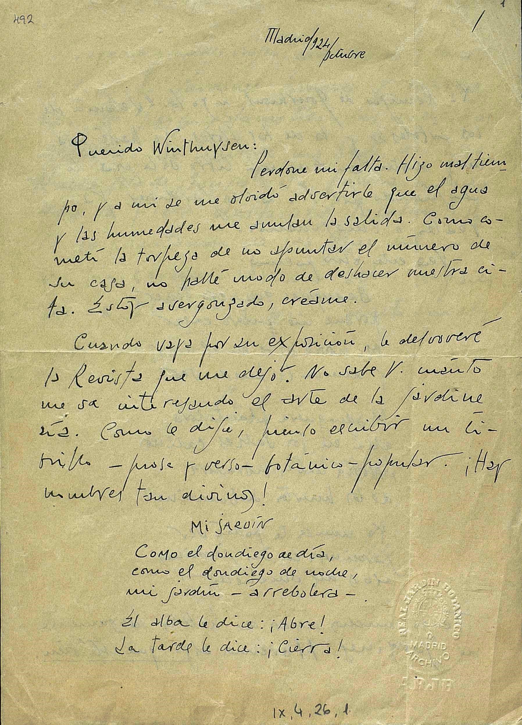 Archivo del Real Jardín Botánico. Carta autógrafa de Rafael Alberti. AJB, div. IX, 4, 26, 1