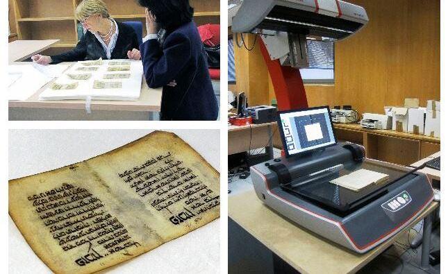 Investigadores y bibliotecarios en los trabajos previos a la digitalización del Mahzor. Biblioteca Tomás Navarro Tomás